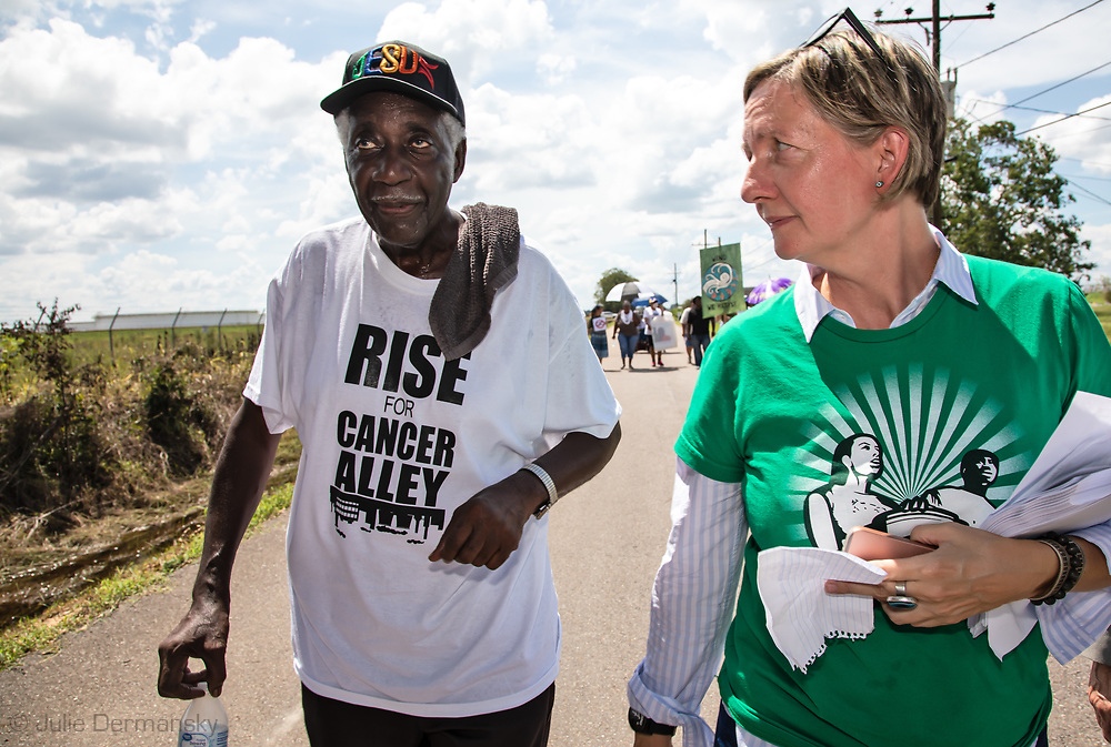 Anne Rolfes, founder of the Louisana Bucket Brigade during the Rise for Cancer Alley march on Burton Lane, in St. James, Louisiana on Sept 8, 2018.