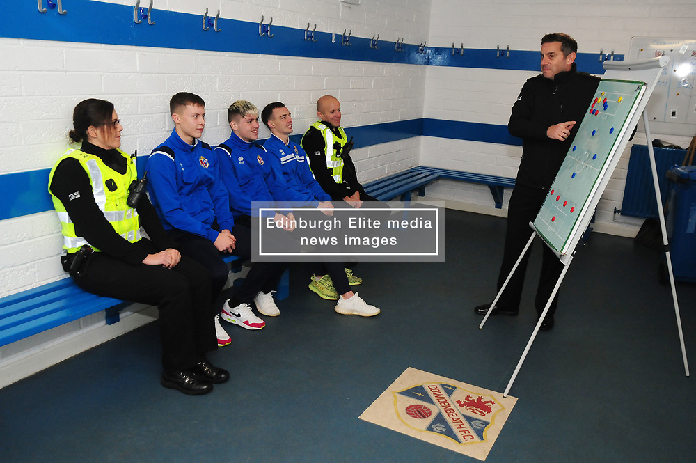 Fife Division, Roads Policing Festive launch, Central Park, Cowdenbeath, 29-11-2019<br /> <br /> Chief Superintendent Derek McEwan in the dressing room with PC's Barry Smith and Louise Wallace and Cowdenbeath players Kyle Sneddon, Connor Smith and Chris Hamilton<br /> <br /> (c) David Wardle | Edinburgh Elite media