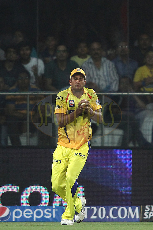 Ishwar Pandey of The Chennai Super Kings gets under the ball to take the catch to get Laxmi Ratan Shukla of the Delhi Daredevils wicket during match 26 of the Pepsi Indian Premier League Season 2014 between the Delhi Daredevils and the Chennai Super Kings held at the Feroze Shah Kotla cricket stadium, Delhi, India on the 5th May  2014<br /> <br /> Photo by Shaun Roy / IPL / SPORTZPICS<br /> <br /> <br /> <br /> Image use subject to terms and conditions which can be found here:  http://sportzpics.photoshelter.com/gallery/Pepsi-IPL-Image-terms-and-conditions/G00004VW1IVJ.gB0/C0000TScjhBM6ikg