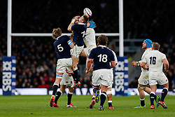 Scotland Winger Dougie Fife and England Winger Jack Nowell go for a high ball - Photo mandatory by-line: Rogan Thomson/JMP - 07966 386802 - 14/03/2015 - SPORT - RUGBY UNION - London, England - Twickenham Stadium - England v Scotland - 2015 RBS Six Nations Championship.