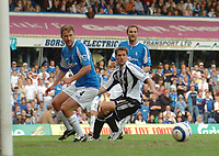 Photo: Leigh Quinnell.<br /> Birmingham City v Newcastle United. The Barclays Premiership. 29/04/2006. Newcastles Michael Owen just can;t reach the ball as it runs past the Birmingham goal.