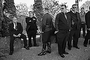 Finnish Roma men gathered for a funeral in Uppsala, Sweden.