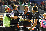 Edinburgh players celebrate during the Guinness Pro 14 2018_19 match between Edinburgh Rugby and Benetton Treviso at Murrayfield Stadium, Edinburgh, Scotland on 28 September 2018.