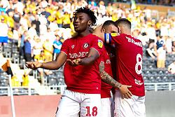 Antoine Semenyo of Bristol City celebrates Reece Burke of Hull City scoring an own goal - Mandatory by-line: Robbie Stephenson/JMP - 24/08/2019 - FOOTBALL - KCOM Stadium - Hull, England - Hull City v Bristol City - Sky Bet Championship
