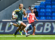 South Africa fly-half Immanuel Libbok runs in for his sides opening try during the World Rugby U20 Championship 3rd Place play-off  match Argentina U20 -V- South Africa U20 at The AJ Bell Stadium, Salford, Greater Manchester, England on Saturday, June 25, 2016.(Steve Flynn/Image of Sport)