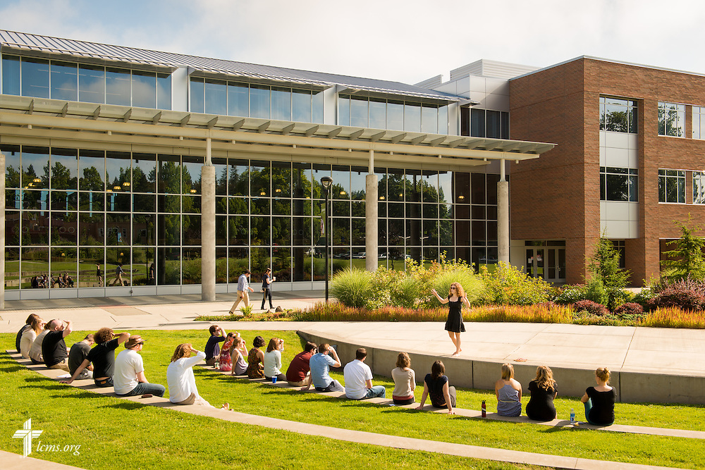 A speaker addresses a class outside the George R. White Library and Learning Center at Concordia University on Friday, July 11, 2014, in Portland, Ore. LCMS Communications/Erik M. Lunsford