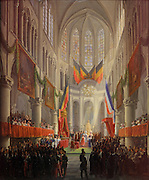 The baptism of Crown Prince Louis-Philippe of Belgium in St Michael and Gudula Cathedral in Brussels, 1833, oil on wood, by Frans Vervloet, 1797-1872, Belgian painter, in Le MUDO, or the Musee de l'Oise, Beauvais, Picardy, France. The prince died in 1834 before his first birthday. Picture by Manuel Cohen