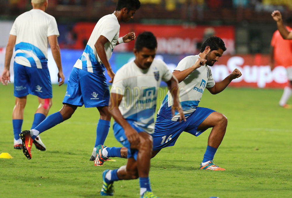 Kerala Blasters FC players warm up before the start of the match 9 of the Indian Super League (ISL) season 3 between Kerala Blasters FC and Delhi Dynamos FC held at the Jawaharlal Nehru Stadium in Kochi, India on the 9th October 2016.<br /> <br /> Photo by Vipin Pawar / ISL/ SPORTZPICS