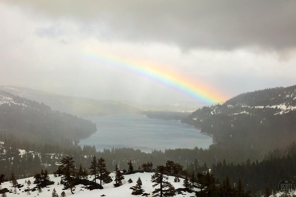 """Rainbow Over Donner Lake 3"" - Photograph of a bright rainbow above Donner Lake, shot from the Rainbow Bridge vista area."