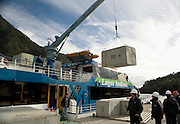 Unloading cargo from ferry, Lake Todos los Santos, Chile