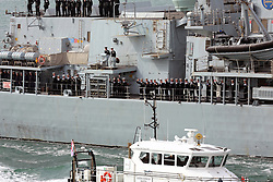 © under license to London News Pictures. 13/08/2012. PORTSMOUTH, UK. HMS WESTMINSTER RETURNS TO PORTSMOUTH FROM DUBAI WITHOUT MISSING CREWMAN TIMMY MACCOLL on AUGUST 13, 2012. Picture credit: Bryan Moffat/LNP