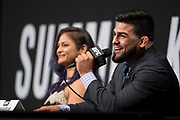 DALLAS, TX - MAY 12:  Kelvin Gastelum speaks to the media during the UFC Summer Kickoff Press Conference at the American Airlines Center on May 12, 2017 in Dallas, Texas. (Photo by Cooper Neill/Zuffa LLC/Zuffa LLC via Getty Images) ***Local Caption***  Kelvin Gastelum