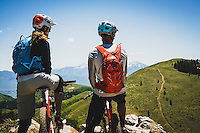 Syd Schulz and Macky Franklin take in the view from Deer Valley Resort, Utah.