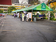 30 MARCH 2014 - BANGKOK, THAILAND:    The polling place at Wat That Thong in Bangkok. Thais voted Sunday to elect 77 senators to the 150-seat Senate. The other 73 senators are appointed by judges and senior officials from agencies such as the National Anti-Corruption Commission (NACC), members of an establishment whom government supporters see as viscerally anti-Thaksin. The government of Yingluck Shinawatra tried to make the senate a fully elected body. That effort was one of the sparks that set off the latest rounds unrest that started in November.   PHOTO BY JACK KURTZ
