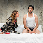 """July 10, 2015 - New York, NY : From left, Alia Attallah, and Karan Oberoi perform in a dress rehearsal for Portland Center Stage<br /> and A Contemporary Theatre (ACT)'s presentation of Yussef El Guindi's """"Threesome"""" at 59E59 on Friday evening. CREDIT: Karsten Moran for The New York Times"""