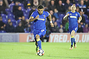 AFC Wimbledon striker Andy Barcham (17) dribbling during the The FA Cup match between AFC Wimbledon and Lincoln City at the Cherry Red Records Stadium, Kingston, England on 4 November 2017. Photo by Matthew Redman.