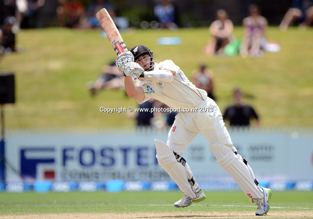 Kane Williamson batting on Day 4 of the 3rd cricket test match of the ANZ Test Series. New Zealand Black Caps v West Indies at Seddon Park in Hamilton. Sunday 22 December 2013. Photo: Andrew Cornaga / www.Photosport.co.nz