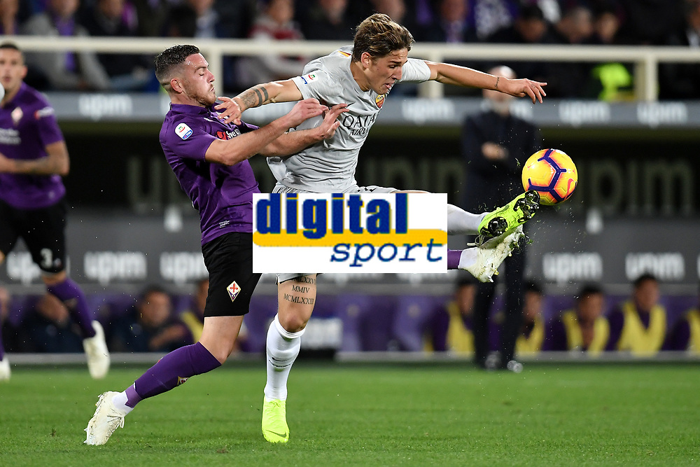 Kevin Mirallas of Fiorentina and Nicolo Zaniolo of AS Roma compete for the ball during the Serie A 2018/2019 football match between ACF Fiorentina and AS Roma at stadio Artemio Franchi, Firenze, November 03, 2018 <br />  Foto Andrea Staccioli / Insidefoto