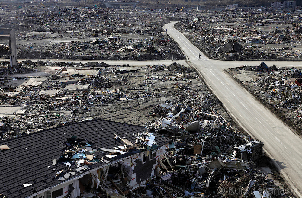 Debris scatter in Rikuzentakata in Iwate, Japan after massive earthquake and tsunami hit northern Japan. More than 20,000 were killed by the disaster on March 11.<br /> Photo by Kuni Takahashi
