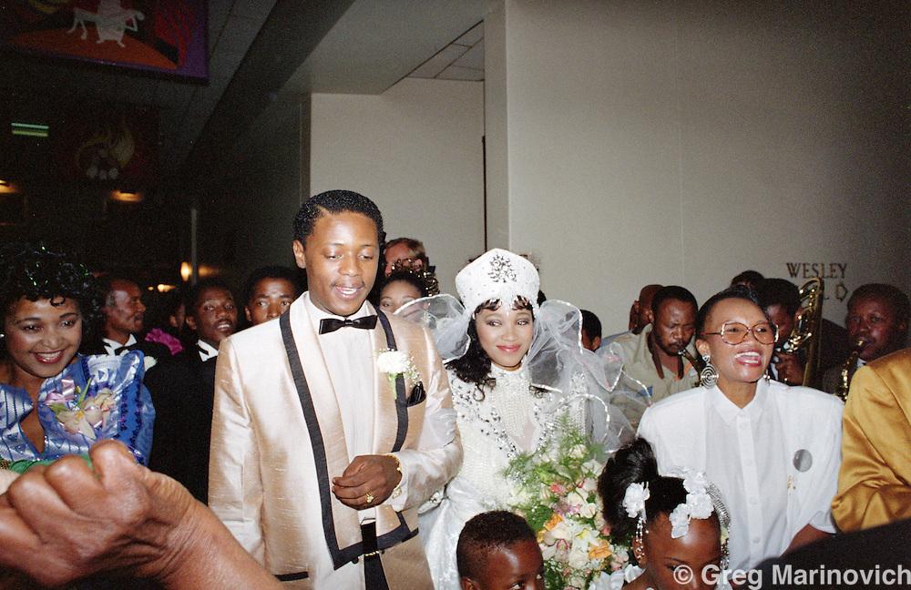Johannesburg, South Africa. Nelson Mandela at the wedding of his daughter Zinzi Mandela and Zweli Hlongwane, October 1992