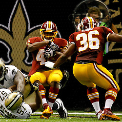 September 9, 2012; New Orleans, LA, USA; Washington Redskins running back Alfred Morris (46) scores a touchdown in the fourth quarter of a game against the New Orleans Saints at the Mercedes-Benz Superdome. The Redskins defeated the Saints 40-32. Mandatory Credit: Derick E. Hingle-US PRESSWIRE