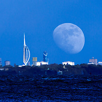 Moon, rise, Spinaker Tower, Portsmouth, The Solent, from, Cowes, Isle of Wight, England, UK,