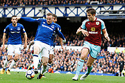 Everton striker Wayne Rooney (10) and Burnley defednder James Tarkowski (5) during the Premier League match between Everton and Burnley at Goodison Park, Liverpool, England on 1 October 2017. Photo by Craig Galloway.