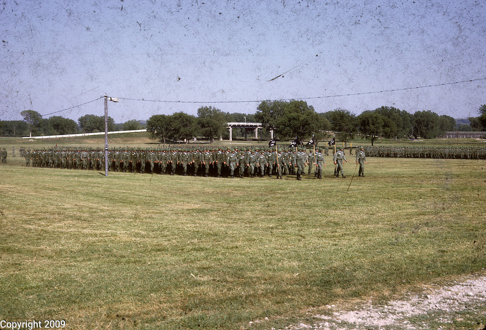 Soldiers stand in formation during training at Ft. Benning in 1964. This images is from the collection of J.W. Womble of the 610th Transportation Company during the Vietnam War.