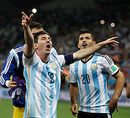 Lionel Messi of Argentina celebrates during the 2014 FIFA World Cup match at Arena Corinthians, Sao Paulo<br /> Picture by Andrew Tobin/Focus Images Ltd +44 7710 761829<br /> 09/07/2014