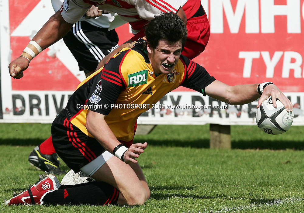 Thames Valley first five Brendon Clark dives over to score a try during the Heartland Championship Lochore Cup week 6 rugby match between Thames Valley and the West Coast held at Rhodes Park in Thames, New Zealand on Saturday 23 September 2006. Photo: Tim Hales/PHOTOSPORT