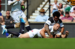 Charlie Sharples (England) dives for the try-line - Photo mandatory by-line: Patrick Khachfe/JMP - Tel: Mobile: 07966 386802 01/06/2014 - SPORT - RUGBY UNION - Twickenham Stadium, London - England XV v Barbarians - International Friendly.
