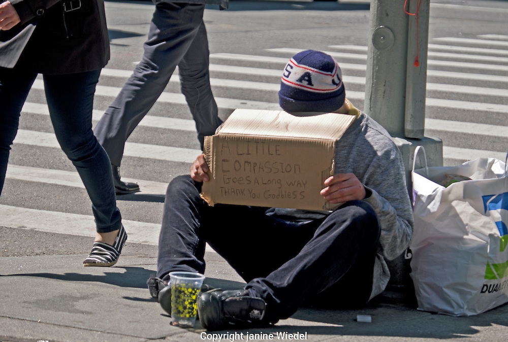 Homeless man begging in Manhatan Streets New York City