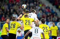 Julian Weigl of Borussia Dortmund vs Michael Sollbauer of WAC during football match between WAC Wolfsberg (AUT) and  Borussia Dortmund (GER) in First leg of Third qualifying round of UEFA Europa League 2015/16, on July 30, 2015 in Wörthersee Stadion, Klagenfurt, Austria. Photo by Vid Ponikvar / Sportida