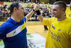 Branko Tamse, head coach of Celje PL and Gasper Marguc of Celje PL celebrate after winning during handball match between RK Gorenje Velenje and RK Celje Pivovarna Lasko in Final match of 1st NLB League - Slovenian Championship 2013/14 on May 23, 2014 in Rdeca dvorana, Velenje, Slovenia. RK Celje Pivovarna Lasko became 18-times Slovenian National Champion. Photo by Vid Ponikvar / Sportida