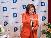 26 OCTOBER 2019 - DES MOINES, IOWA: Congresswoman NANCY PELOSI (D-CA), Speaker of the House of Representatives, speaks to Iowa Democrats at Drake University. Speaker Pelosi talked about her experiences as Speaker of the House after the Democrats took back the House of Representatives in the 2018 midterm elections.        PHOTO BY JACK KURTZ