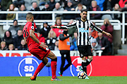 Ayoze Perez (#17) of Newcastle United reacts as he is called for offside during the Premier League match between Newcastle United and Huddersfield Town at St. James's Park, Newcastle, England on 31 March 2018. Picture by Craig Doyle.