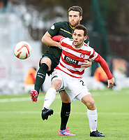 17/01/15 SCOTTISH PREMIERSHIP<br /> HAMILTON v CELTIC<br /> NEW DOUGLAS PARK - HAMILTON<br /> Celtic's Adam Matthews (left) tussles with Tony Andreu