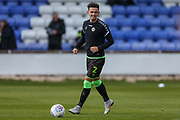 Forest Green Rovers Liam Shephard(2) warming up during the EFL Sky Bet League 2 match between Macclesfield Town and Forest Green Rovers at Moss Rose, Macclesfield, United Kingdom on 29 September 2018.