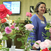"""Tracy Kramer of Pontotoc smiles as she watches her rose """"Tineke""""  be sleceted as """"Queen of the Show"""" Thursday morning."""