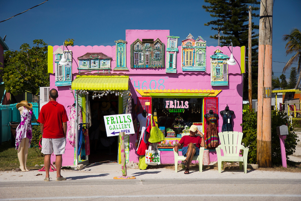 """Frills Gallery. Matlacha (pronounced """"MAT-la-shay"""") is located about two hours south of Tampa Bay on Pine Island and is a mix of Key West meets Old Florida fishing village. """"We're a quaint little drinking village with a fishing problem,"""" laughs a local who goes by the name Bear..Photos by James and Julie Branaman"""