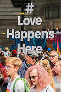 Love Happens Here - The annual London Gay Pride march heads from Oxford Circus to Trafalgar Square.