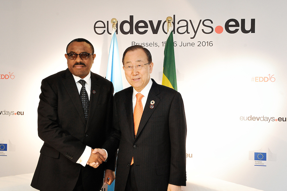 20160615 - Brussels , Belgium - 2016 June 15th - European Development Days - Bilateral Meeting Ban Ki-Moon<br /> Secretary General, United Nations<br /> and Hailemariam Desalegn Boshe<br /> Prime Minister of Ethiopia<br /> © European Union