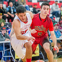 Grants Pirate Adrian Sanchez (32), left, chases a lose ball ahead of Española Valley Sundevil JP Sena (10) during the Eddie Peña Invitational basketball tournament in Grants Thursday.