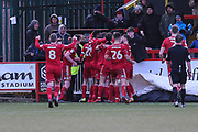 Accrington Stanley's Kayden Jackson(10) scores a goal 3-1 and the Accrington players celebrate during the EFL Sky Bet League 2 match between Accrington Stanley and Forest Green Rovers at the Wham Stadium, Accrington, England on 17 March 2018. Picture by Shane Healey.