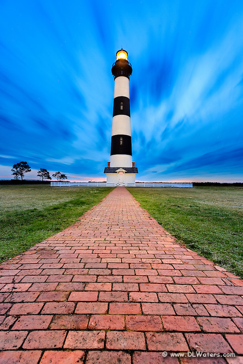 Long early morning exposure of Boddie Island Lighthouse on the Outer Banks of NC.