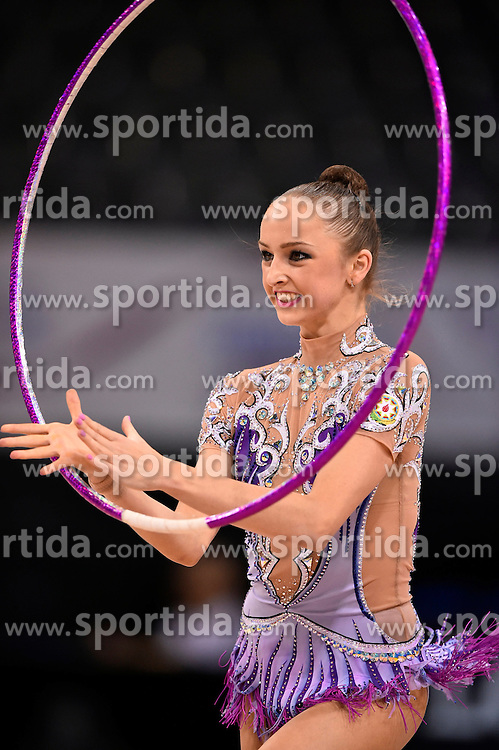 07.09.2015, Porsche Arena, Stuttgart, GER, Gymnastik WM, im Bild Marina Durunda (AZE) Reifen // during the World Rhythmic Gymnastics Championships at the Porsche Arena in Stuttgart, Germany on 2015/09/07. EXPA Pictures &copy; 2015, PhotoCredit: EXPA/ Eibner-Pressefoto/ Weber<br /> <br /> *****ATTENTION - OUT of GER*****