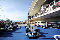 The Mercedes AMG F1 W05 of Lewis Hamilton (GBR) Mercedes AMG F1 in parc ferme.<br /> United States Grand Prix, Sunday 2nd November 2014. Circuit of the Americas, Austin, Texas, USA.