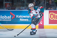 KELOWNA, CANADA - MARCH 24: Nick Merkley #10 of the Kelowna Rockets skates with the puck against the Kamloops Blazers on March 24, 2017 at Prospera Place in Kelowna, British Columbia, Canada.  (Photo by Marissa Baecker/Shoot the Breeze)  *** Local Caption ***