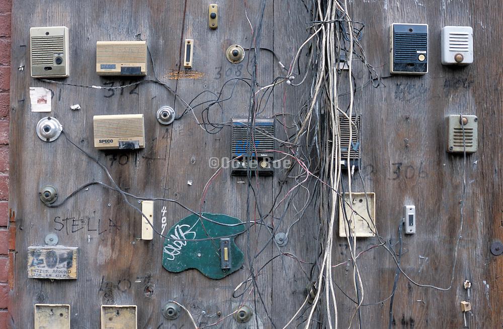 Still life of old doorbells