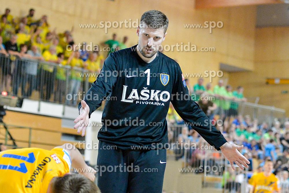 Lesjak Urban of RK Celje Pivovarna Lasko during handball match between RK Krka and RK Celje Pivovarna Lasko in the Final of Slovenian Men Handball Cup 2018, on April 22, 2018 in Sportna dvorana Ljutomer , Ljutomer, Slovenia. Photo by Mario Horvat / Sportida